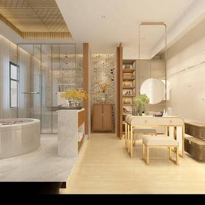 卫浴, 浴缸, 梳妆台, 置物柜, 边柜, 花瓶, 毛巾, 现代