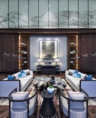 中式售楼处, 沙发茶几组合, 多人沙发, 壁画, 台灯, 储物架, 中式