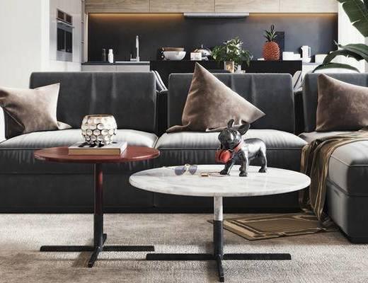 北欧沙发组合, 沙发沙发, 多人沙发, 茶几, 摆件