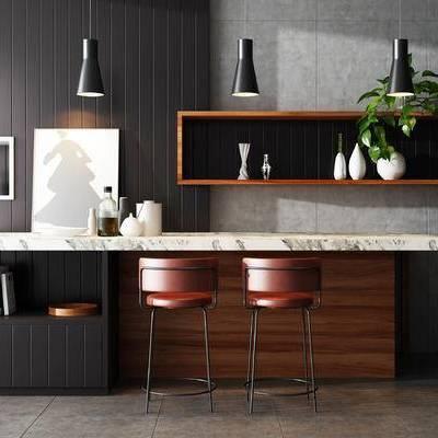 吧台, 吧椅, 置物柜, 吊灯, 壁画, 现代