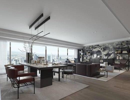 现代简约, 客厅, 餐厅, 沙发茶几组合, 桌椅组合