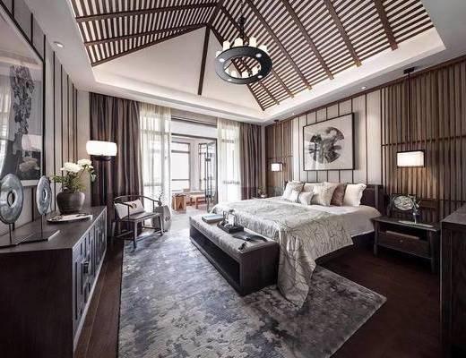 新中式卧室, 壁画, 双人床, 床尾塌, 吊灯, 床头柜, 椅子, 新中式