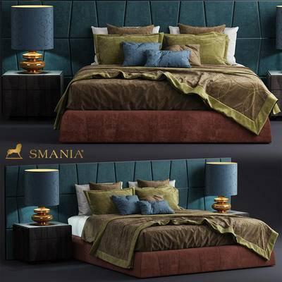 后现代, 床具, 边柜, 台灯