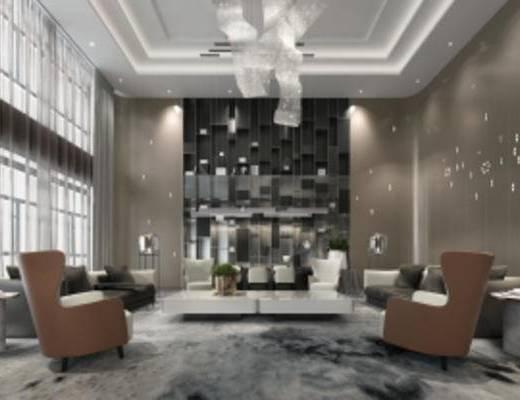 现代销售中心, 休闲区, 沙发茶几组合, 吊灯, 储物架, 地毯, 盆栽, 现代