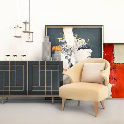 現代邊柜, 邊柜組合, 單椅, 邊柜