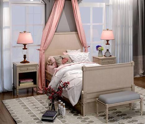 床具组合, 双人床, 床尾塌, 床头柜, 台灯, 北欧
