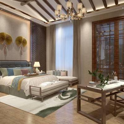 卧室, 双人床, 台灯, 床头柜, 床尾塌, 桌子, 椅子, 地毯, 中式