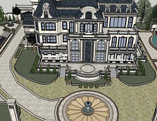 别墅, SU模型, 新古典