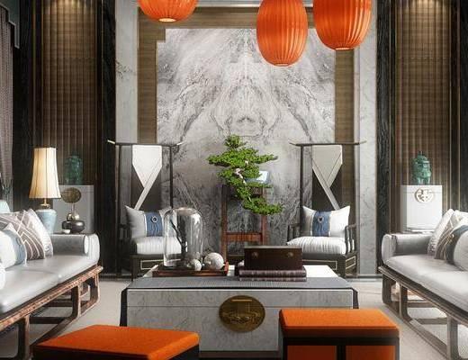 新中式客厅, 多人沙发, 椅子, 边几, 台灯, 茶几, 新中式