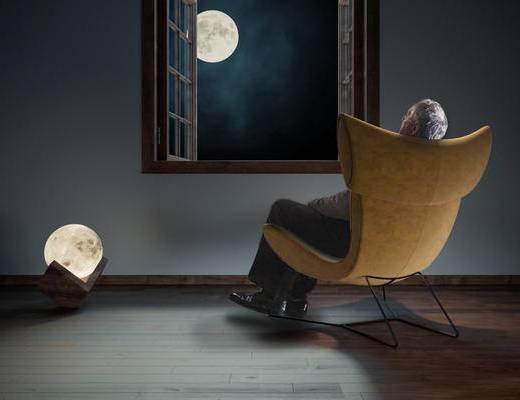 椅子, 台灯, 装饰灯, 创意设计