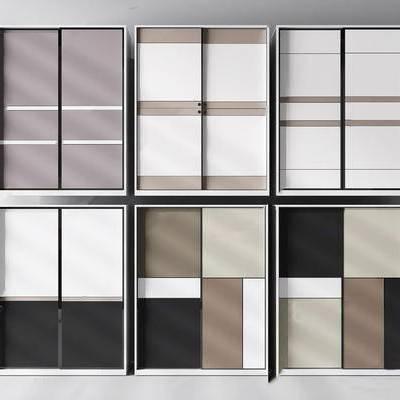 现代衣柜, 现代简约, 衣柜, 下得乐3888套模型合辑