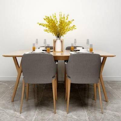 桌椅组合, 桌子, 椅子, 花瓶, 现代