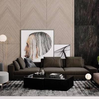 沙发组合, 多人沙发, 落地灯, 壁画, 椅子, 茶几, 现代