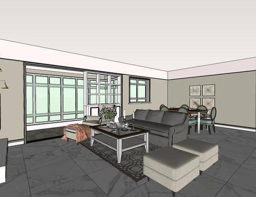 现代美式客厅, 美式客厅, 现代客厅, 客厅餐厅
