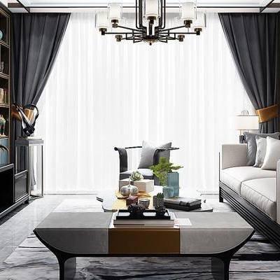 新中式客厅, 电视柜, 双人沙发, 茶几, 椅子, 吊灯, 置物柜, 台灯, 新中式