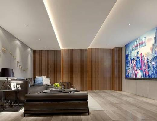 现代影音室, 多人沙发, 边几, 台灯, 壁画, 现代