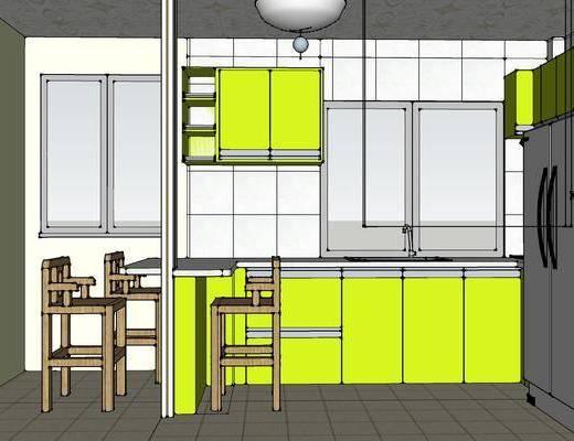 简约厨房, 厨房, 厨房橱柜