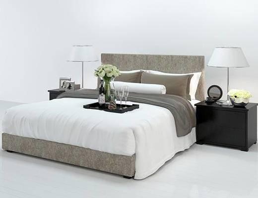 现代, 双人床, 台灯, 床头柜, 陈设品, 花瓶