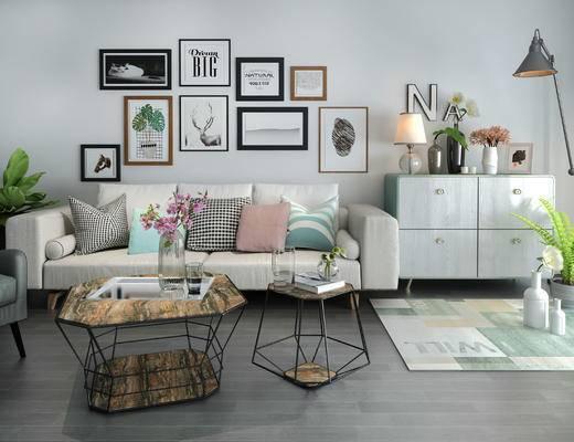 北欧客厅, 茶几, 多人沙发, 壁画, 台灯, 边柜, 椅子, 地毯, 盆栽, 北欧