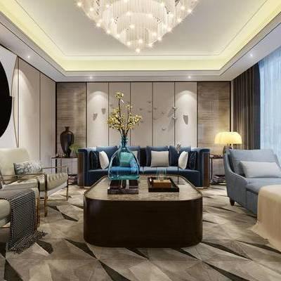 新中式客厅, 多人沙发, 吊灯, 茶几, 椅子, 沙发躺椅, 壁画, 台灯, 边几, 新中式