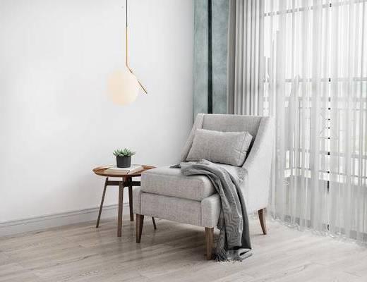 单人沙发, 圆几, 吊灯, 北欧
