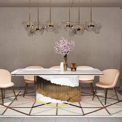 桌椅组合, 吊灯, 桌子, 椅子, 花瓶, 现代