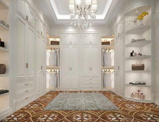 衣帽间, 吊灯, 衣柜, 花瓶, 地毯, 欧式