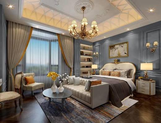 欧式卧室, 壁画, 双人床, 多人沙发, 置物柜, 床头柜, 台灯, 壁灯, 茶几, 花瓶, 吊灯, 椅子, 欧式