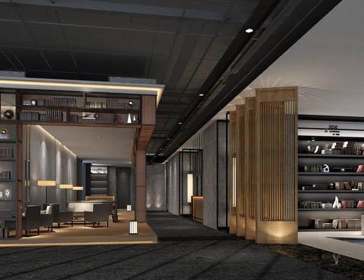 会客区, 吊灯, 置物柜, 落地灯, 单人沙发, 椅子, 屏风, 新中式