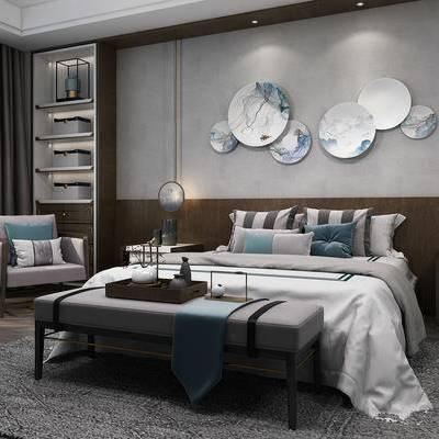 床具组合, 双人床, 椅子, 边几, 床头柜, 置物柜, 床尾塌, 壁画, 吊灯, 花瓶, 新中式