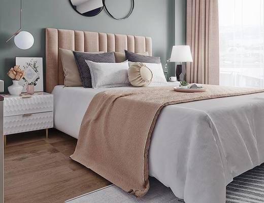 北欧卧室, 双人床, 床头柜, 台灯, 吊灯, 边柜, 壁画, 地毯, 北欧