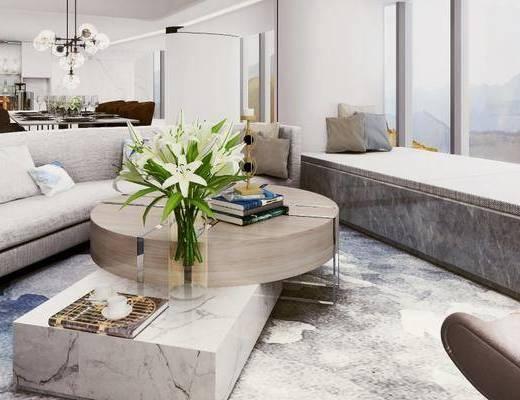 现代客厅, 多人沙发, 茶几, 桌子, 椅子, 吊灯, 现代