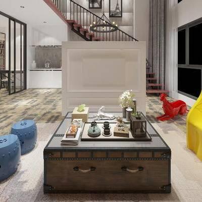 茶几, 凳子, 椅子, 置物柜, 中式