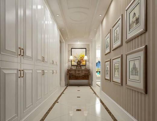 欧式玄关走廊, 台灯, 壁画, 边柜, 欧式