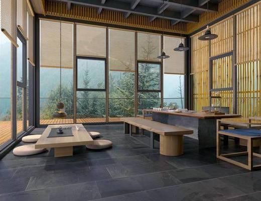 新中式茶室, 吊灯, 桌子, 边几, 凳子, 椅子, 花瓶, 新中式