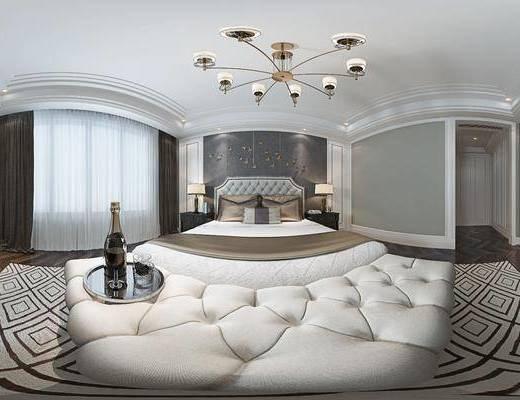 现代港式卧室, 双人床, 床尾塌, 床头柜, 台灯, 壁画, 电视柜, 酒瓶酒杯组合, 地毯, 现代