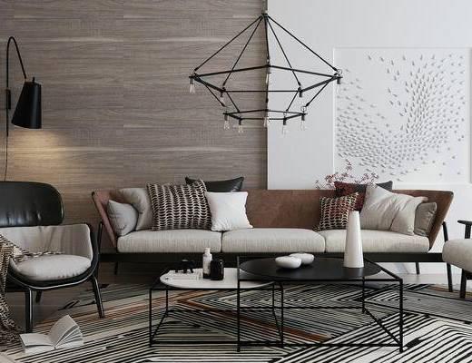 现代, 沙发, 茶几, 吊灯, 壁灯, 沙发椅, 墙饰, 花瓶