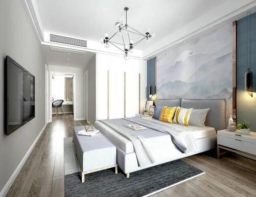 北欧卧室, 双人床, 沙发床尾塌, 吊灯, 床头柜, 相框, 单椅, 北欧摆件组合, 壁画, 地毯, 北欧
