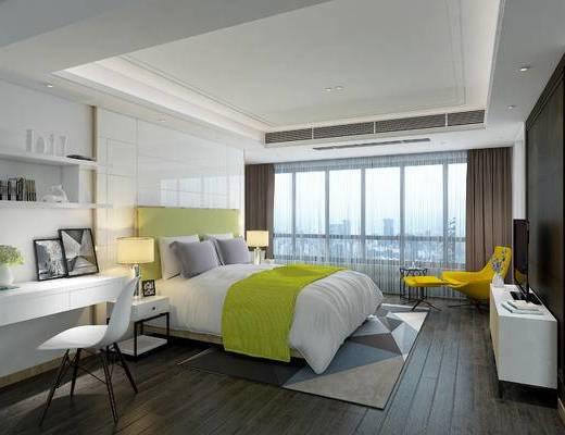 现代, 卧室, 床, 台灯, 书桌, 椅子, 摆件, 电视柜, 沙发