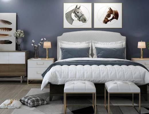 床具组合, 双人床, 台灯, 壁画, 床头柜, 边柜, 沙发凳, 简欧