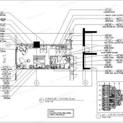 CAD, HBA, 施工图, 工装, 酒店, 客房, 平面图, 立面图