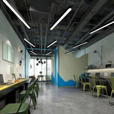 工业风办公室, 办公桌, 办公椅, 吊灯, 壁灯, 桌椅组合, 工业风