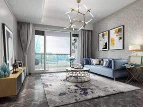 现代简约, 沙发茶几组合, 吊灯, 挂画