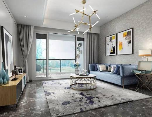 沙发茶几组合, 吊灯, 挂画, 现代, 边柜