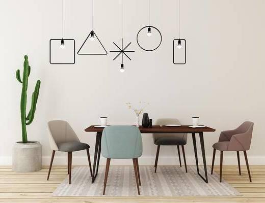 桌椅组合, 桌子, 椅子, 吊灯, 盆栽, 北欧