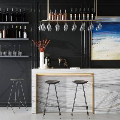 吧台, 吧椅, 壁画, 酒杯, 置物架, 现代