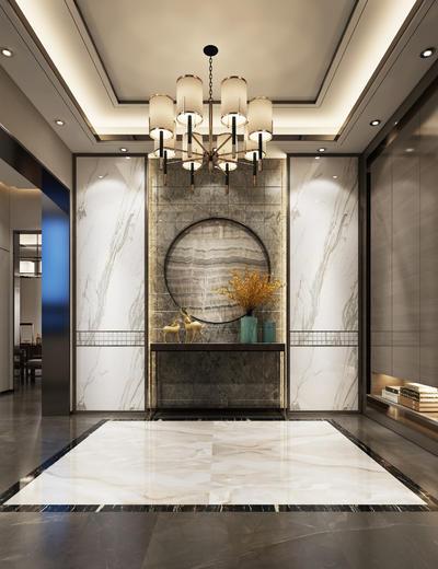 玄关走廊, 吊灯, 边几, 中式