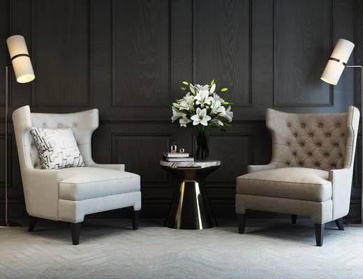 现代简约, 沙发, 茶几, 花瓶, 书籍, 现代