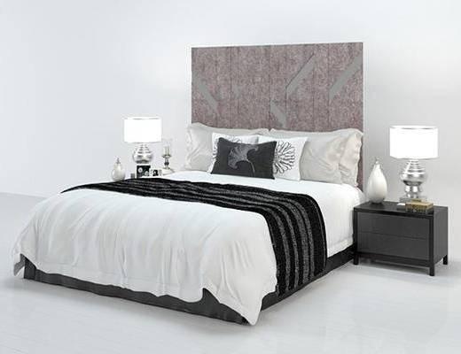 现代, 双人床, 台灯, 床头柜