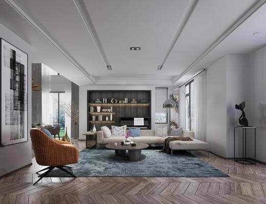 现代简约, 别墅, 客厅, 沙发茶几组合, 桌椅组合, 落地灯
